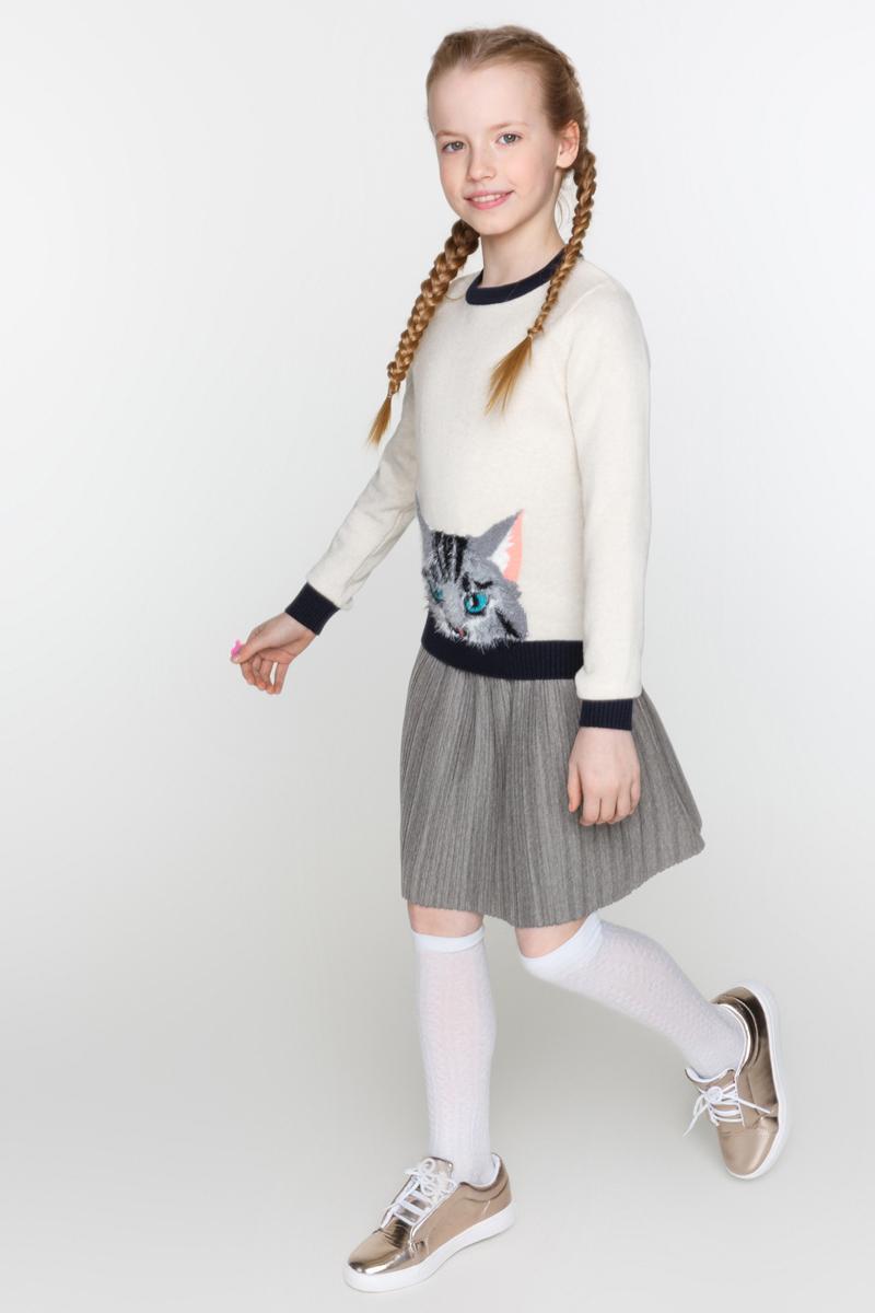 Юбка для девочек Acoola Siara, цвет: темно-серый. 20210180049_2000. Размер 13420210180049_2000Плиссированная юбка из трикотажа, декорированная контрастной резинкой с люрексом на талии. Модель без подкладки и застежек, с эластичным поясом.