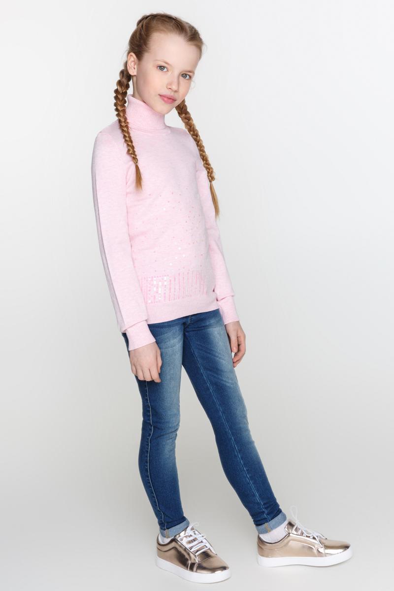 Свитер для девочек Acoola Sparrow, цвет: розовый. 20210320018_1400. Размер 15220210320018_1400Свитер из мягкого вязаного трикотажа, декорированный вышивкой из пайеток спереди. Модель с воротником-гольф, резинкой на манжетах и по низу изделия.