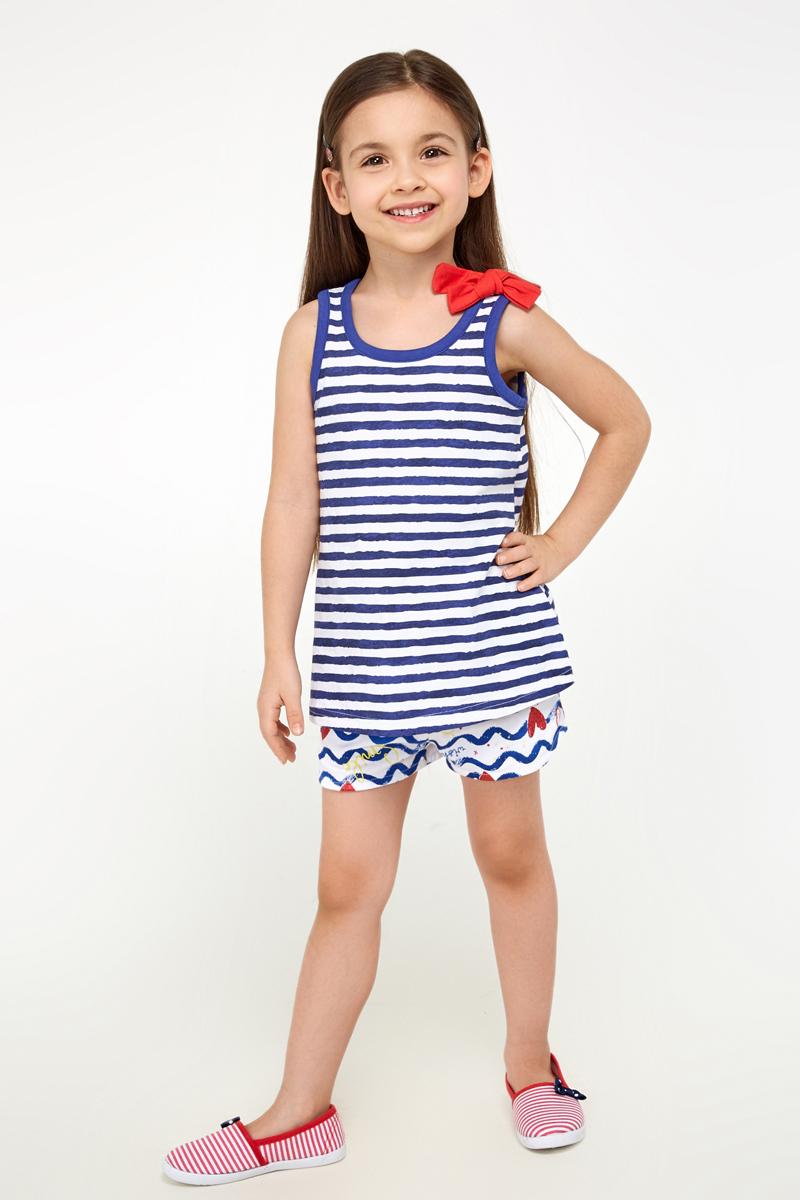Майка для девочек Acoola Adelita, цвет: темно-синий. 20224220017_600. Размер 12820224220017_600Майка из принтованного трикотажа, декорированная бантиком на одном плече. Модель свободного силуэта с круглым вырезом горловины.