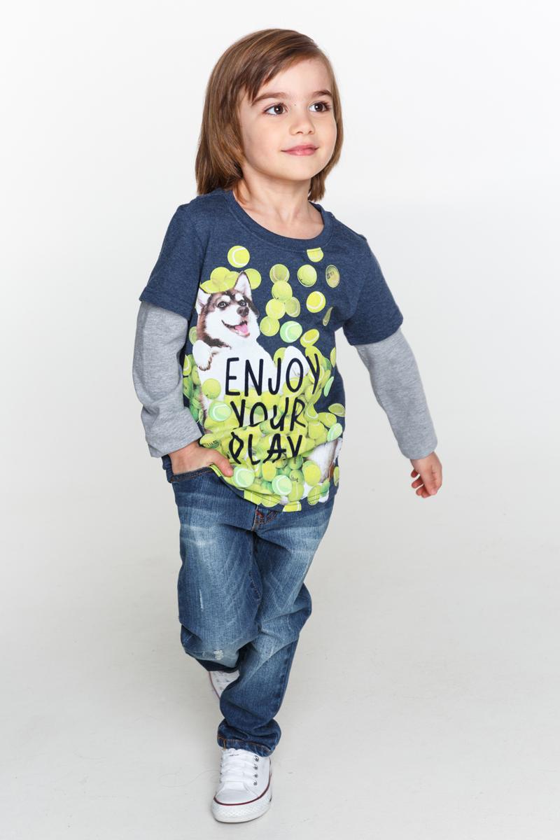 Джемпер для мальчиков Acoola Pot, цвет: темно-синий. 20120100083_600. Размер 10420120100083_600Трикотажный джемпер, имитирующий футболку поверх лонгслива, декорированный ярким принтом спереди. Модель с круглым вырезом горловины и длинными рукавами.