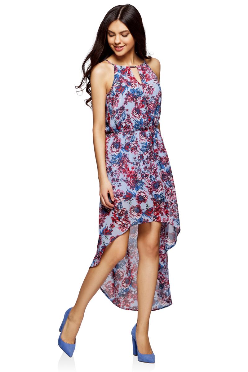 Платье oodji Ultra, цвет: голубой, красный, цветы. 11910064-3M/35271/7045F. Размер 38-164 (44-164)11910064-3M/35271/7045FПлатье из легкой ткани с асимметричным низом