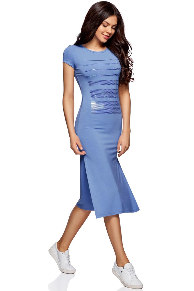 Платье oodji Ultra, цвет: синий, серебряный. 14001178/42626/7591P. Размер XL (50)14001178/42626/7591PПлатье трикотажное с аппликацией