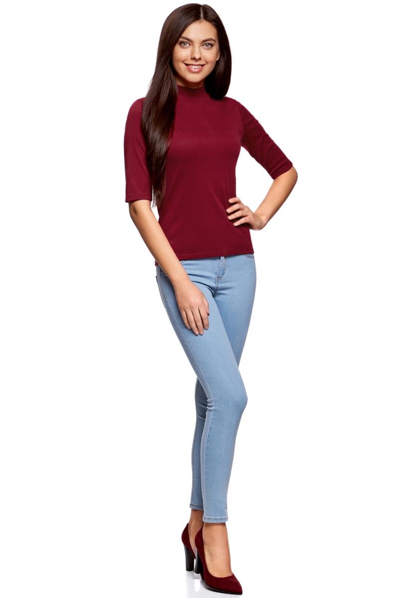 Джемпер жен oodji Ultra, цвет: бордовый. 15E01002-2/46464/4900N. Размер S (44)15E01002-2/46464/4900NВодолазка трикотажная с рукавом до локтя