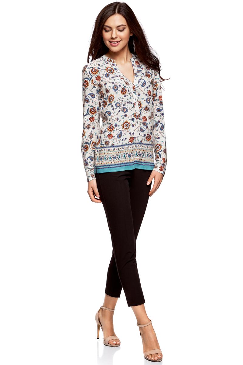 Блузка жен oodji Collection, цвет: белый, мультиколор. 21400394-3M/24681/1219E. Размер 44-170 (50-170)21400394-3M/24681/1219EБлузка прямого силуэта с V-образным вырезом