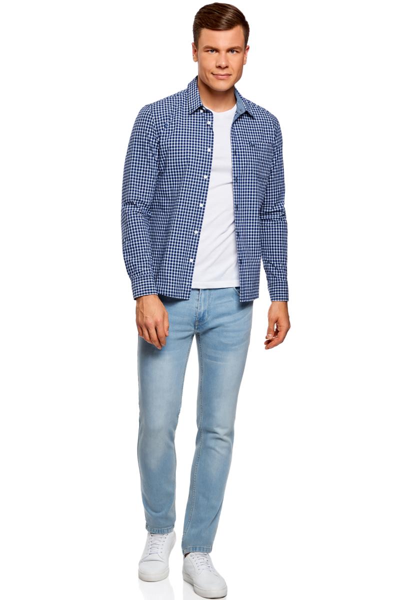 Рубашка муж oodji Lab, цвет: темно-синий, синий, клетка. 3L310145M/39511N/7975C. Размер S-182 (46/48-182)3L310145M/39511N/7975CРубашка в клетку с нагрудным карманом