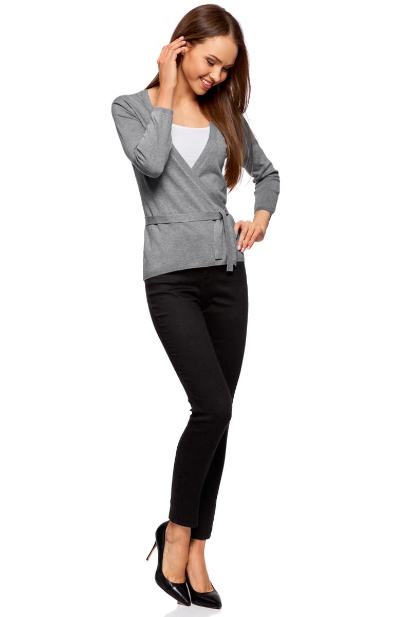 Жакет жен oodji Knits Ultra, цвет: серый меланж. 63212495-2B/45641/2300M. Размер M (46)63212495-2B/45641/2300MЖакет трикотажный с запахом