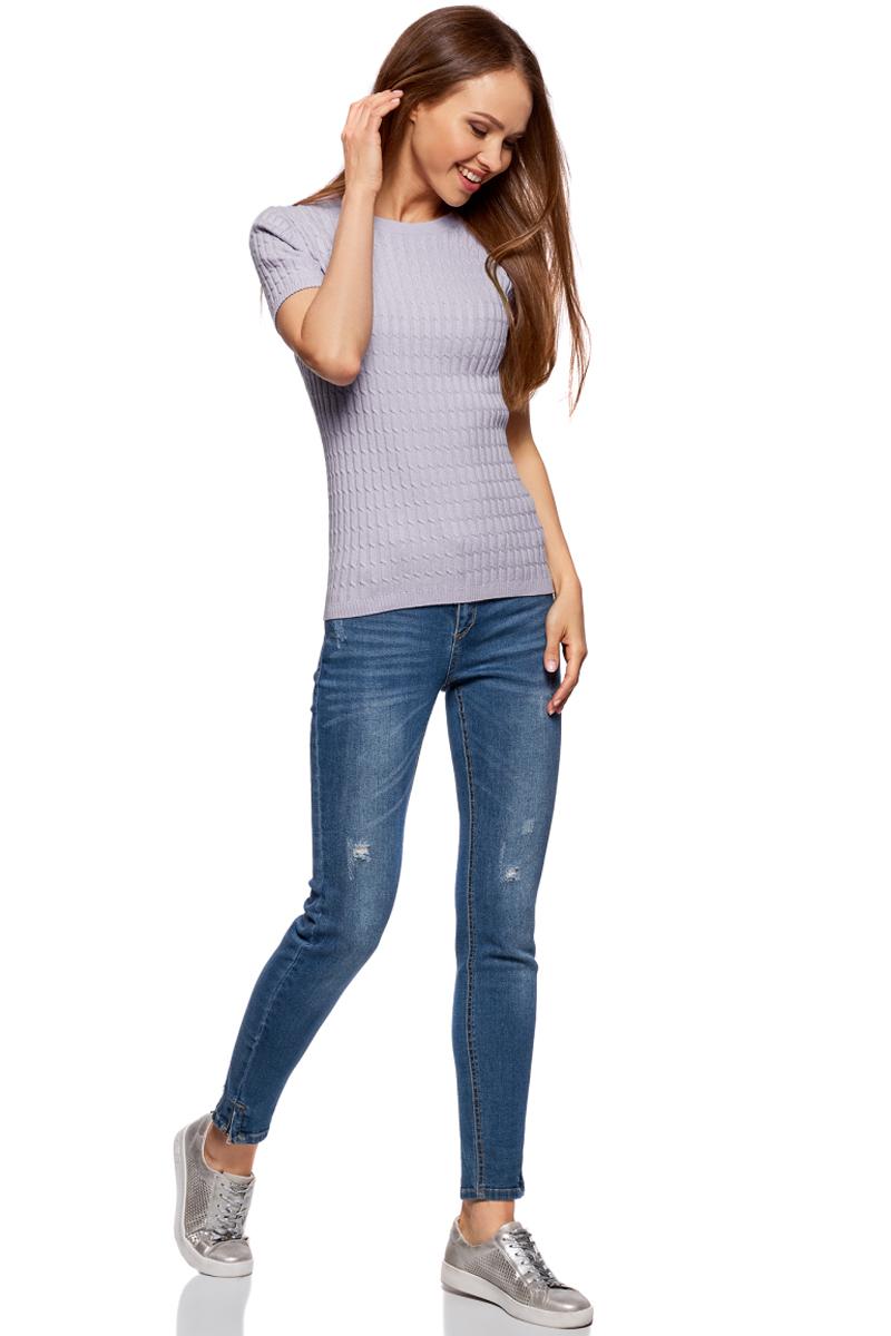 Джемпер жен oodji Knits Ultra, цвет: сиреневый. 63812518-3B/46139/8000N. Размер M (46)63812518-3B/46139/8000NДжемпер в косичку с коротким рукавом