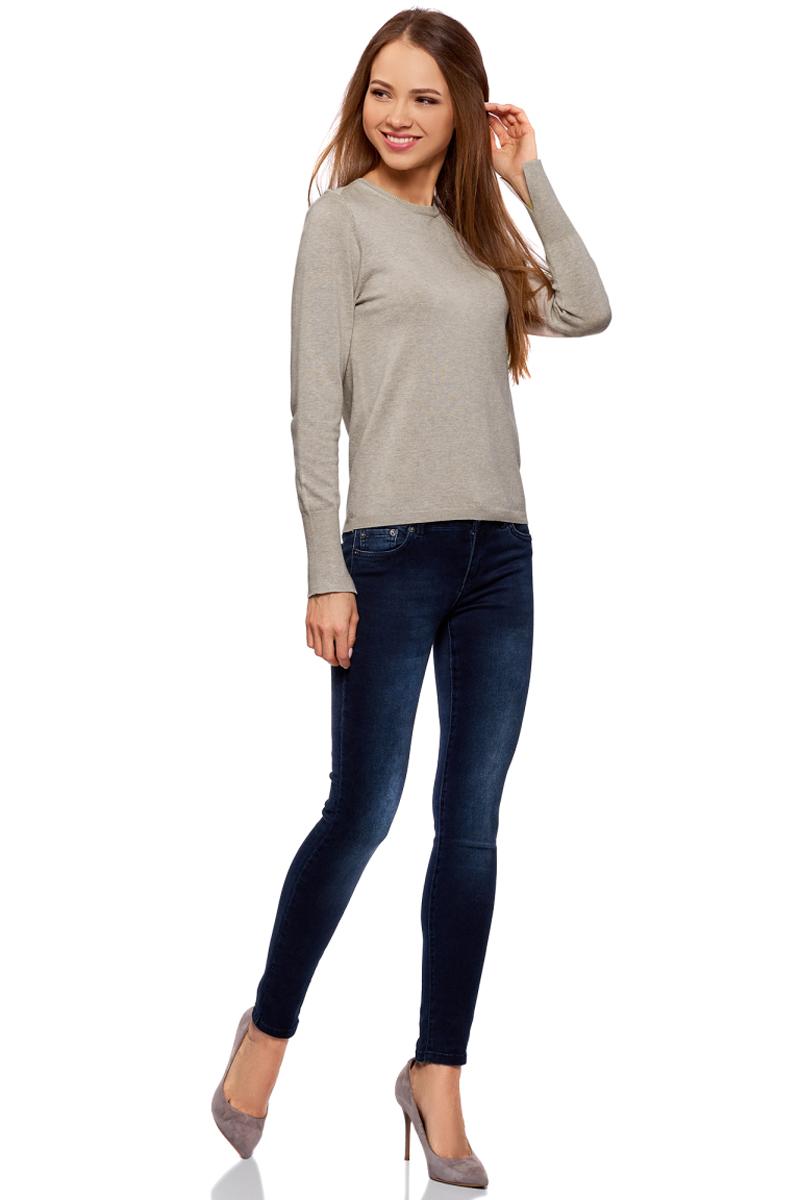 Джемпер жен oodji Knits Collection, цвет: бежевый меланж. 73812659-1B/45641/3300M. Размер XL (50)73812659-1B/45641/3300MДжемпер с длинным рукавом и круглым вырезом