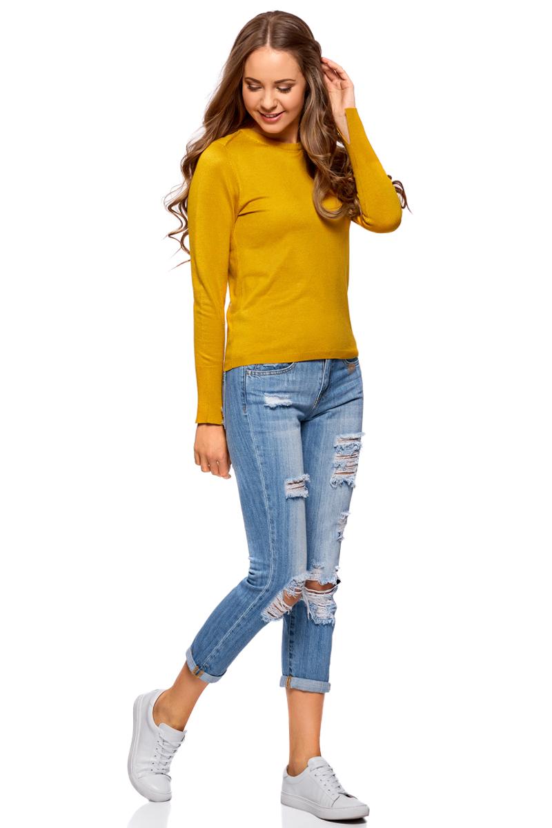 Джемпер жен oodji Knits Collection, цвет: желтый. 73812659-1B/45641/5200N. Размер XS (42)73812659-1B/45641/5200NДжемпер с длинным рукавом и круглым вырезом