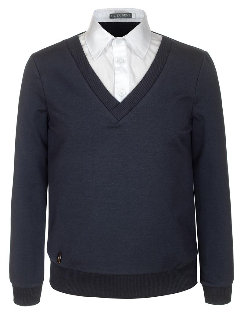 Джемпер для мальчика Nota Bene, цвет: серый. CJK17014A20. Размер 128CJK17014A20/CJK17014B20Джемпер для мальчика Nota Bene выполнен из хлопкового трикотажа. Модель 2-в-1 с длинными рукавами дополнена вставкой, имитирующей рубашку.