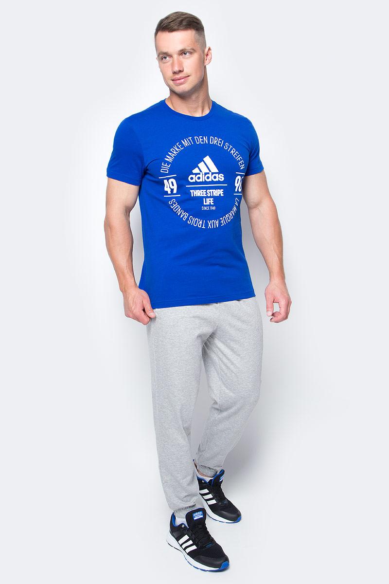 Футболка мужская adidas Logo Tee, цвет: синий. BK2803. Размер M (48/50)BK2803Футболка мужская adidas Logo Tee выполнена из натурального хлопка. Модель с круглым вырезом горловины и короткими рукавами оформлена оригинальным принтом.