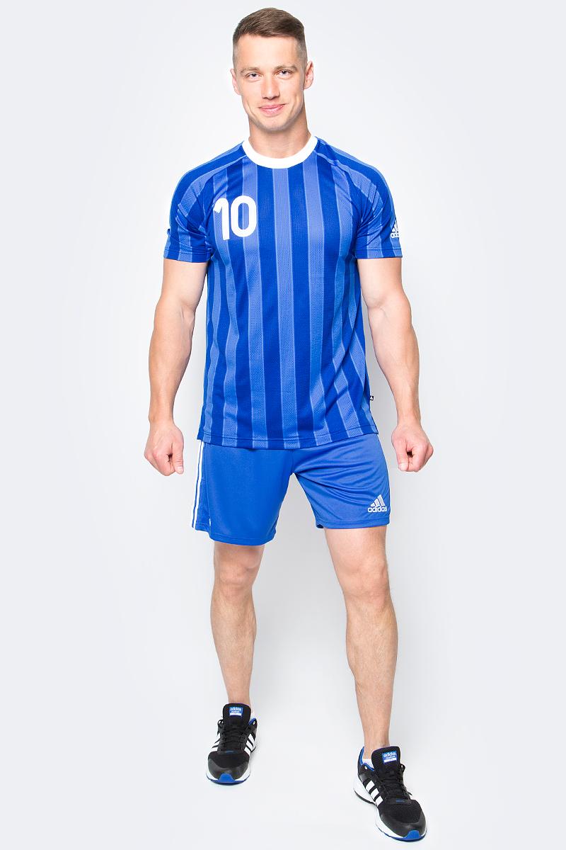 Футболка мужская Adidas Tanip Cc Jsy, цвет: синий. AZ9712. Размер XL (56/58)AZ9712Футбольная коллекция всемирно известного бренда.Плеймейкеры талантливы и решительны. Веди команду за собой в этой мужской футболке с культовым номером 10 на груди и спине. Вентиляция climacool отводит излишки тепла от тела, обеспечивая тебе комфорт на поле и за его пределами. Удлиненная спинка и разрезы по бокам для свободы движений.