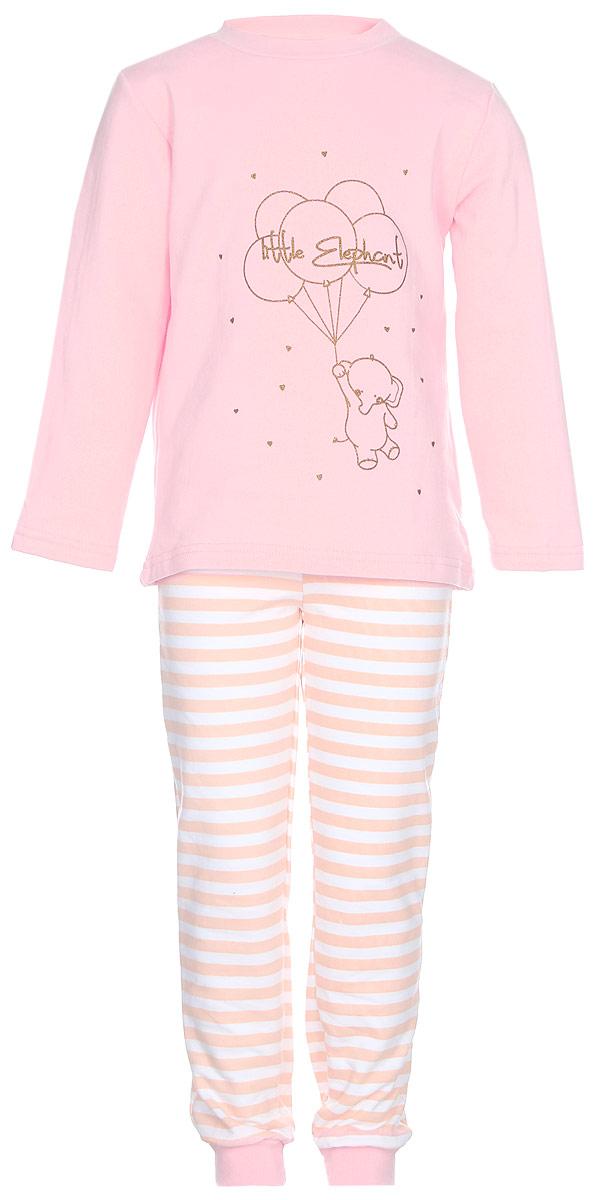 Пижама для девочки КотМарКот Слоненок, цвет: розовый. 16171. Размер 92, 2 года16171Пижама для девочки КотМарКот Слоненок, состоящая из футболки с длинным рукавом и брюк выполнена из натурального хлопка. Футболка с длинными рукавами и круглым вырезом горловины имеет застежки-кнопки по плечевому шву, что помогает с легкостью переодеть ребенка. Вырез горловины и манжеты на рукавах дополнены трикотажными эластичными резинками. Модель оформлена принтом с изображением слоника с шариками, а также надписями. Брюки на талии имеют эластичную резинку, благодаря чему они не сдавливают животик ребенка и не сползают. Низ брючин дополнен широкими трикотажными манжетами.