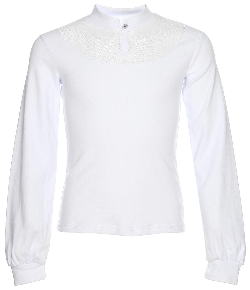Блузка для девочки Nota Bene, цвет: белый. CJR27046A01. Размер 122CJR27046A01/CJR27046B01Блузка для девочки Nota Bene выполнена из хлопкового трикотажа с кружевной отделкой. Модель с длинными рукавами застегивается на пуговицу.