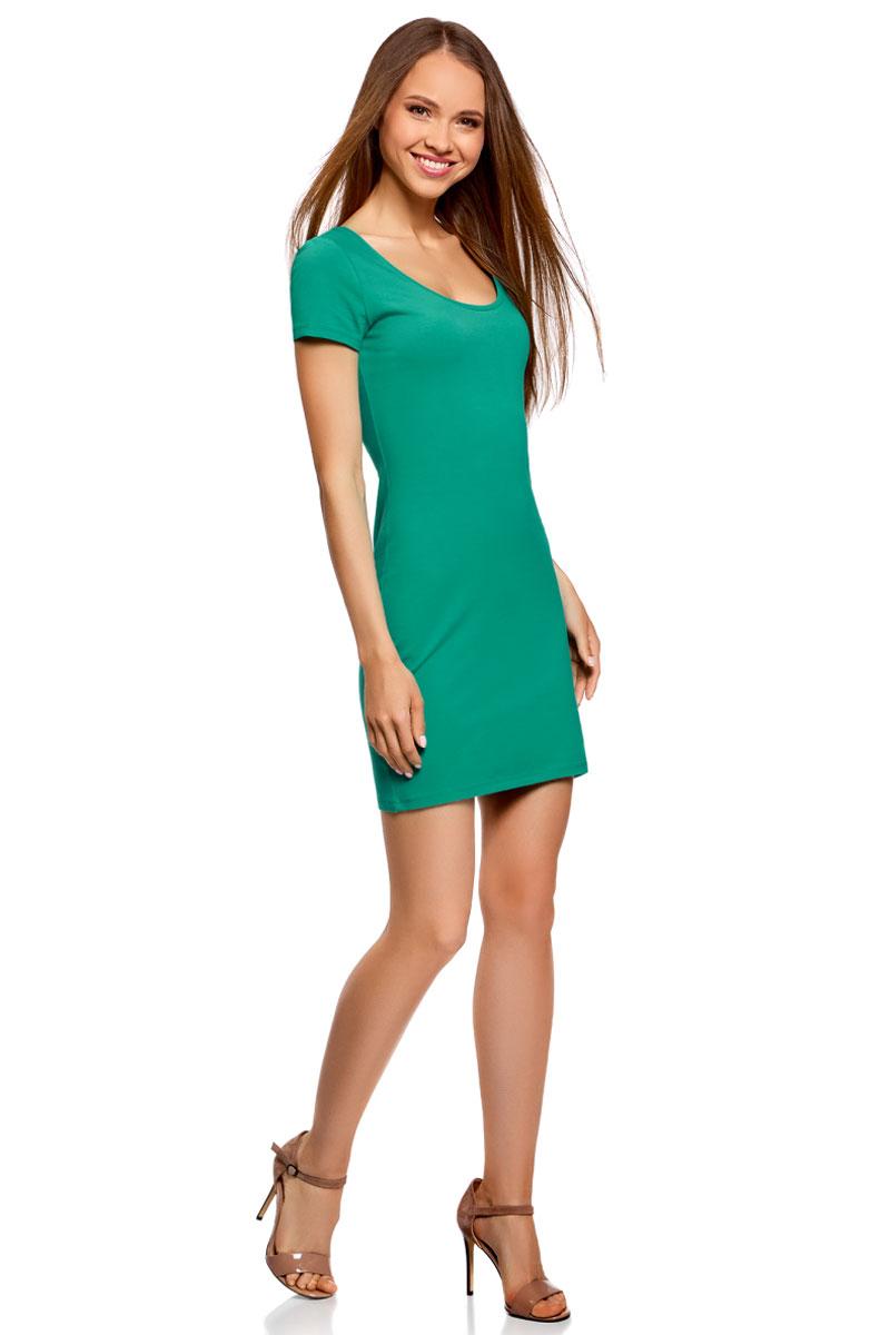 Платье жен oodji Ultra, цвет: зеленый. 14001182B/47420/6D00N. Размер XXS (40)14001182B/47420/6D00NБазовое облегающее платье с большим вырезом. Модель длиной ниже середины бедра. Короткий втачной рукав с двойной отстрочкой. Широкая круглая горловина отделан бейкой. Благодаря вырезу платье легко надевать. Мягкий трикотаж из натурального хлопка с незначительным добавлением эластана дышит, хорошо тянется и плотно облегает фигуру. Платье приятно для тела и не стесняет движений. Простой классический крой повторяет очертания силуэта. Облегающее платье прекрасно подойдет для фигур разного типа. Короткое трикотажное платье просто незаменимо в любом гардеробе. В нем можно пойти на дружескую встречу, прогулку по вечернему городу, в кино или кафе. В прохладную погоду сверху можно надеть жакет или укороченную куртку из кожи или замши. С платьем отлично сочетается обувь на каблуке – туфли-лодочки, босоножки, сандалии, ботильоны. С помощью неформальных кед или слипонов вы сможете создать спортивный и динамичный образ. Тоненький кожаный ремешок, оригинальный браслет или короткие бусы помогут завершить привлекательный лук. В таком платье вы будете чувствовать себя свободно и уверенно.