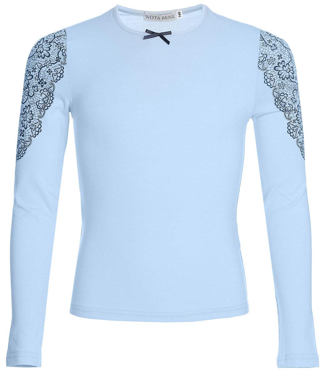 Блузка для девочки Nota Bene, цвет: голубой. CJR27033A10. Размер 140CJR27033A10/CJR27033B10Блузка для девочки Nota Bene выполнена из хлопкового трикотажа с кружевной отделкой. Модель с длинными рукавами и круглым вырезом горловины.