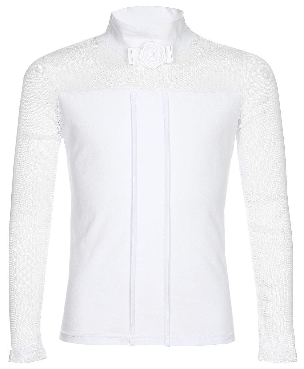 Блузка для девочки Nota Bene, цвет: белый. CJR27049B01. Размер 158CJR27049A01/CJR27049B01Блузка для девочки Nota Bene выполнена из хлопкового трикотажа в сочетании с гипюром. Модель с длинными рукавами и воротником-стойкой.