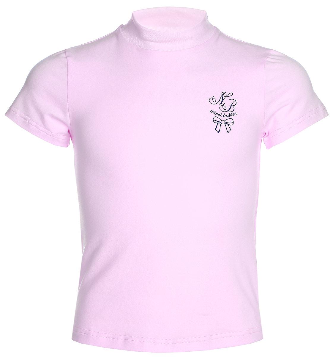 Водолазка для девочки Nota Bene, цвет: розовый. CJR27040A05. Размер 140CJR27040A05/CJR27040B05Водолазка для девочки Nota Bene выполнена из хлопкового трикотажа. Модель с короткими рукавами и воротником-стойкой на груди оформлена принтом.