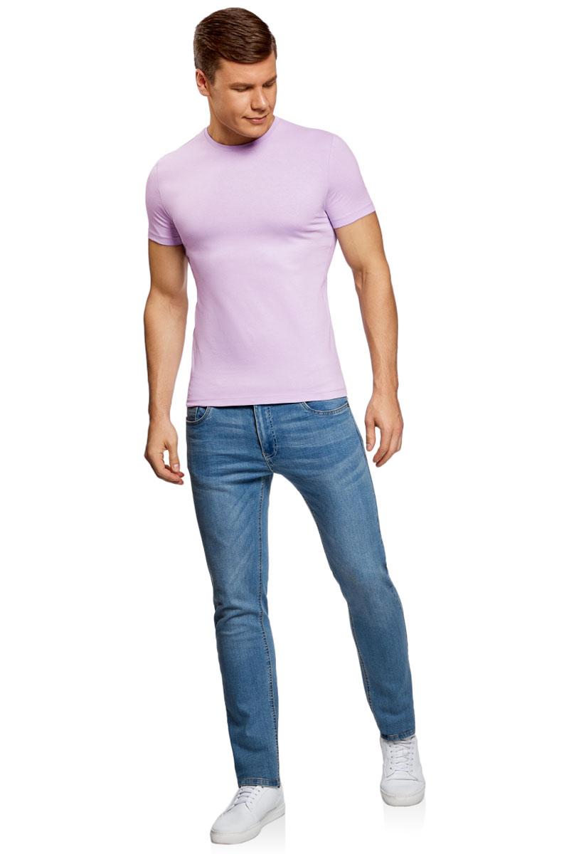 Футболка муж oodji Basic, цвет: фиолетовый. 5B611004M/46737N/8000N. Размер L (52/54)5B611004M/46737N/8000NФутболка хлопковая базовая