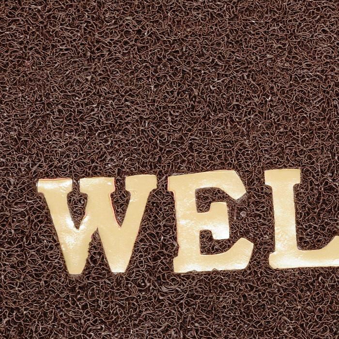 Коврик придверный Vortex Welcome, цвет: коричневый, 40 х 60 см22182Придверный коврик выполнен из синтетического материала. Прорезиненная основа коврика предотвращает его скольжение по гладкой поверхности и обеспечивает надежную фиксацию. Такой коврик надежно защитит помещение от уличной пыли и грязи. Характеристики: Материал: полимерные материалы. Размеры: 60 см х 40 см х 0,9 см. Производитель: Россия. Изготовитель: Китай. Артикул: 22182.