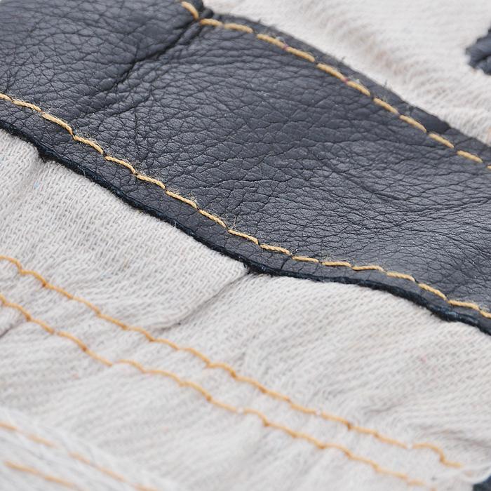 Перчатки рабочие кожаные 10,512450Кожаные рабочие перчатки предназначены для защиты рук во время строительных и погрузо-разгрузочных работ. Перчатки изготовлены из натуральной кожи, плотной ткани и с внутренним мягким синтепоном. Они отличаются прочностью и износостойкостью. Перчатки позволяют крепко удерживать инструмент во время работы, препятствуя его выскальзыванию. Они удобны в эксплуатации и отлично защищают руки от грязи и механических повреждений. Характеристики: Материал: кожа, текстиль, синтепон. Длина среднего пальца: 9,5 см. Общий размер перчаток (Д х Ш): 28 см x 13 см. Артикул: 12450.
