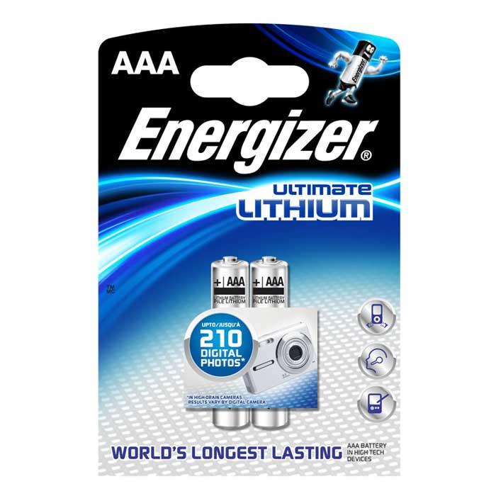 Батарейка литиевая ENERGIZER Ultim Lithium, тип ААА, 2 шт636324/632962/629769/635225Батарейка литиевая ENERGIZER Ultim Lithium имеет непревзойденную емкость и вес на 33% меньше стандартных алкалиновых батареек. Не содержит ртути и кадмия. Характеристики: Тип элемента питания: литиевый. Выходное напряжение: 1,5 В. Размер батарейки: 1 см х 1 см х 4,5 см. Размер упаковки: 8 см х 11,5 см х 1 см. Изготовитель: Сингапур.