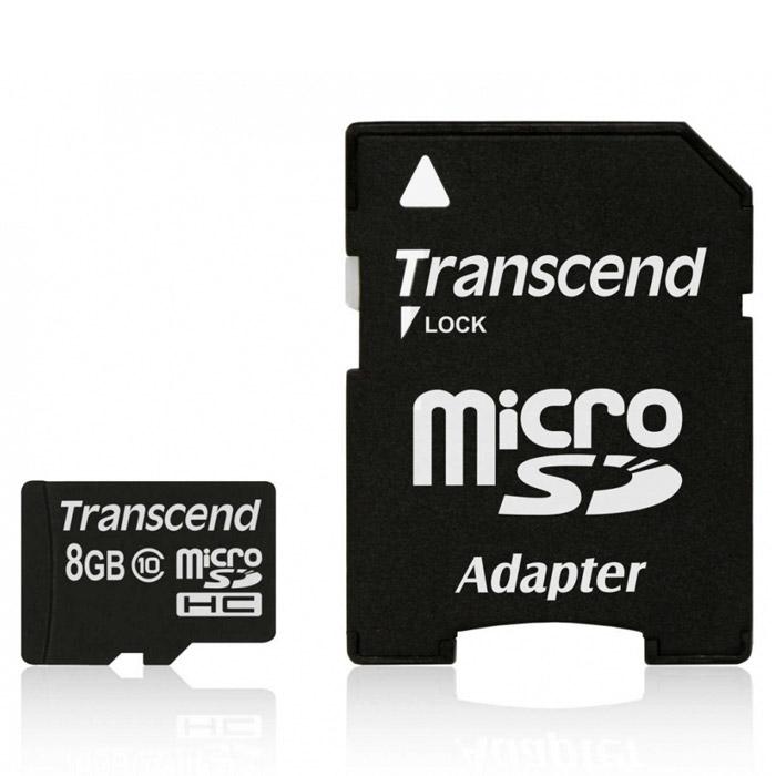 Transcend microSDHC Class 10 8GB карта памяти + адаптерTS8GUSDHC10Карта памяти Transcend microSDHC Class 10 обладает отличными рабочими характеристиками при размере всего лишь 1/10 от размера SD карты. Продукт отличает необычайная скорость класса 10, представленная Ассоциацией SD карт в качестве новых характеристик SD 3.0, скорость записи 10 MБ/сек. гарантирована. Карта памяти microSDHC класса 10 с высокими скоростными характеристиками, большим размером памяти до 32 ГБ при минимальном размере особенно рекомендована для использования в современных мобильных устройствах. Все microSDHC карты прошли строгие тестирования на совместимость и надежность, и имеют ограниченную гарантию от компании Transcend. Каждая карта снабжена встроенным ECC (корректирующим кодом), который отвечает за автоматические обнаружение и устранение ошибок в процессе передачи данных. Внимание: перед оформлением заказа убедитесь в поддержке вашим электронным устройством карт памяти данного объема.