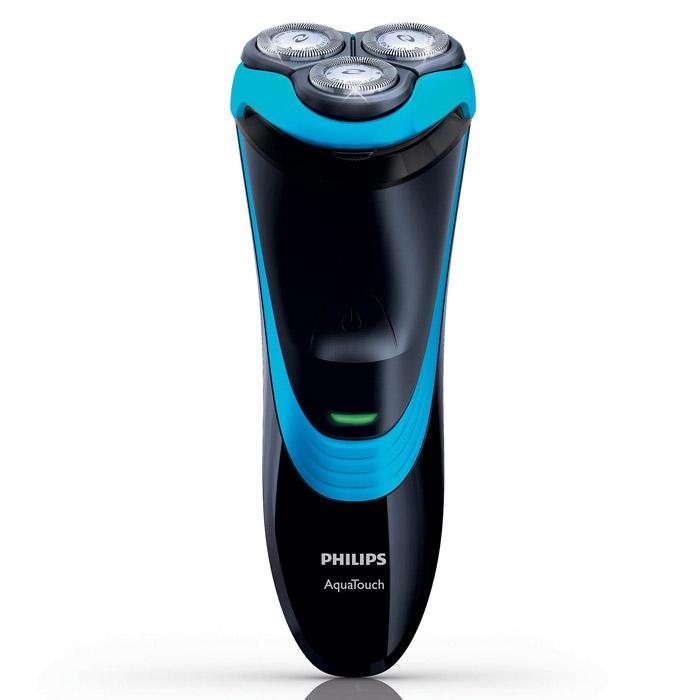 Бритва AquaTouch Philips AT750/16AT750/16Электробритва Philips AT 750/16 для сухого и влажного бритья с функцией Aquatec Wet & Dry. Aquatec для сухого и влажного бритья Уплотнение Aquatec гарантирует комфортное сухое бритье и освежающее влажное бритье. Отлично подходит для использования с гелем или пеной для бритья, что обеспечивает дополнительный комфорт даже при использовании в душе. Система защиты кожи Закругленные головки с низким коэффициентом трения повторяют контуры лица, снижая вероятность порезов. Система Super Lift&Cut Система двойных лезвий электробритвы приподнимает волоски для комфортного сбривания щетины, обеспечивая чистое бритье. Полностью водонепроницаемая Система QuickRinse позволяет промывать бритву под струей воды и использовать в душе Более 40 минут автономной работы Более 40 минут в режиме автономной работы для 14 сеансов бритья. Полная зарядка занимает 8 часов, поэтому бритва готова к использованию в любое время.