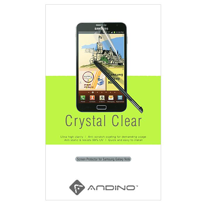 Andino защитная пленка для Samsung Note, глянцеваяCD012199Защитная пленка Andino защитит Ваш смартфон Samsung Galaxy Note от пыли, грязи и царапин.