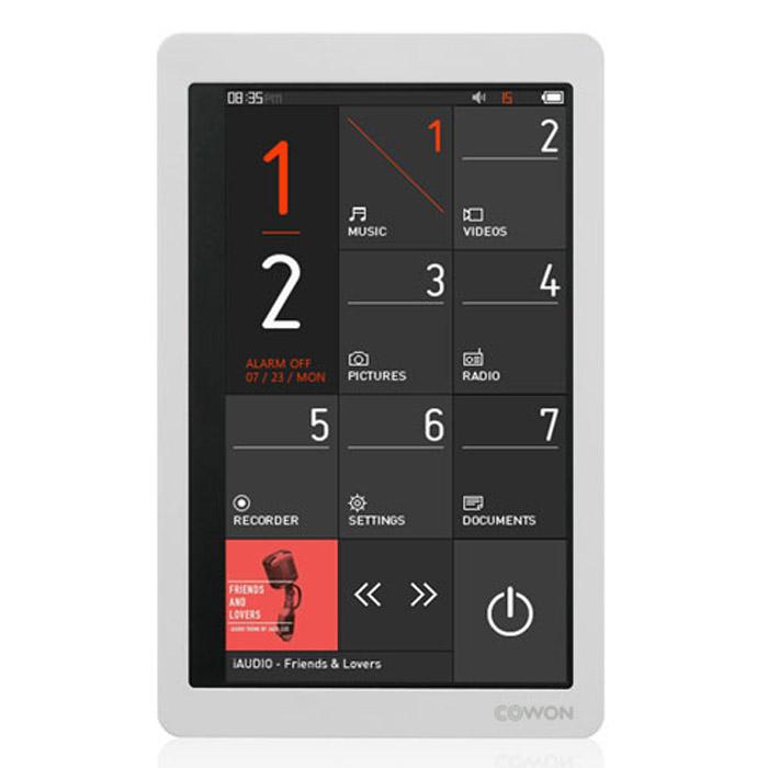 Cowon X9 32GB, WhiteiAudioX9 32GBCowon X9 – самый долгоиграющий плеер в своём классе, работающий до 110 часов в режиме воспроизведения аудио. Устройство поддерживает все типы мультимедиа, в том числе проигрывает видео на большом сенсорном дисплее. Плеер оснащён акселерометром, FM-тюнером, диктофоном, динамиком и слотом для карт памяти MicroSD. Главные отличия X9 от модели-предшественника – Cowon X7 – это увеличенное время работы, уменьшенный вес и флэш-память ёмкостью до 32 Гб вместо жёсткого диска. Также стоит выделить новый динамический интерфейс и обновлённую систему преобразования звука JetEffect 5 (48 настроек эквалайзера, 9 режимов эхо, специальные эффекты включая знаменитый BBE+).