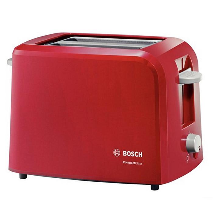 Bosch TAT3A014 тостерTAT3A014Тостер Bosch TAT3A014 станет еще одним членом вашей семьи, ведь мало кто откажется полакомиться поджаренным хрустящим кусочком хлеба или горячей булочкой. С его появлением вам уже не придется заставлять ребенка позавтракать - он сможет самостоятельно приготовить себе вкусное блюдо без малейшей опасности для здоровья. Оригинальный дизайн и яркая цветовая гамма тостеров Bosch позволят им стать настоящим украшением вашей кухни. Данная модель поможет приготовить за раз два кусочка хлеба, а степень поджаренности вы можете выбрать самостоятельно при помощи терморегулятора. Также тостер оснащен функцией автоматического центрирования для равномерной обжарки, а также съемным поддоном для крошек, который значительно упростит уход за прибором. Бесступенчатый терморегулятор с интегрированной функцией подогрева Автоматическое центрирование тостов для равномерного поджаривания Плоский нагревательный элемент Hi-Lift: плавный подъем тостов ...
