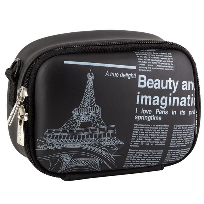 RIVACASE Riva 7081 (PU) Digital Case, Black (Newspaper) чехол для фотокамеры 6373