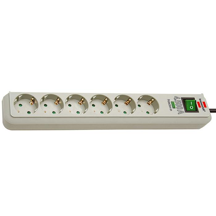 Brennenstuhl Eco-Line сетевой фильтр на 6 розеток, Light Grey1159750015Сетевой фильтр на 6 розеток Brennenstuhl Eco-Line защищает устройства от скачков напряжения. Фильтр оснащен индикатором активного состояния защиты от скачков напряжения. Гнезда розеток защищены от детей и расположены под углом 45°. Тип кабеля: H05VV-F 3G1,5