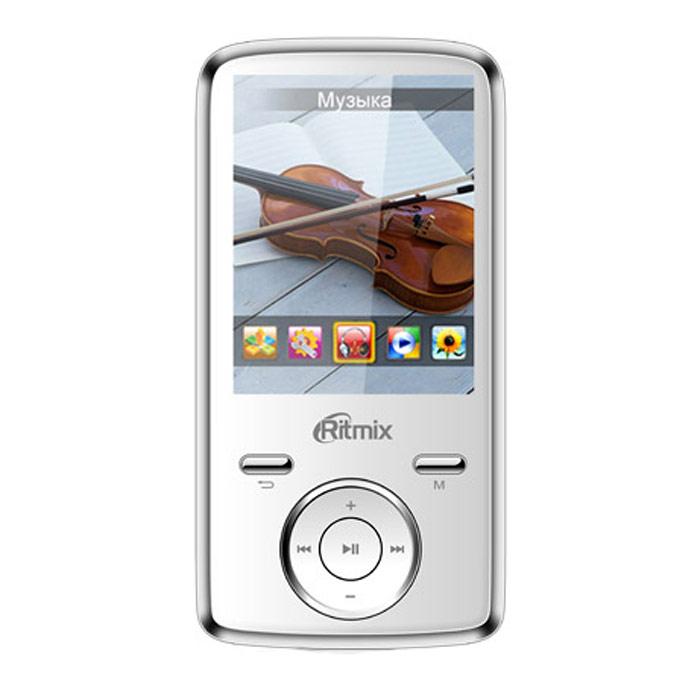 Ritmix RF-7650 4GB, White mp3-плеерRITMIX RF-7650Ritmix RF-7650 - многофункциональный плеер, который в своем компактном корпусе совмещает множество полезных функций: это воспроизведение аудио и видеофайлов, отображение текстовых и графических документов, фото- и видеосъемка, а также работа в режиме веб-камеры. Встроенная фотокамера и видеокамера Фотографирование: 2048 x 1536 пикселей Видеозапись/видеосъемка: 640 x 480 пикселей Работа в режиме вебкамеры при подключении к ПКПоддержка карт памяти до 16 Гб, макс. class 6Радио: FM (87 - 108 МГц), память на 20 радиостанций