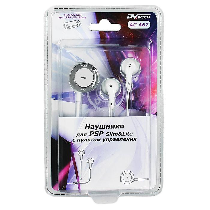Наушники для PSP Slim DVTech AC 462 с пультом управления (цвет: белый)AC 462Наушники предназначены для использования с портативной системой PSP Slim&Lite.Наушники комплектуются компактным пультом управления с клипсой для крепления на одежду.
