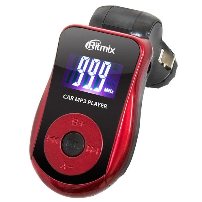 """Ritmix FMT-A720 автомобильный FM-модулятор15116561Ritmix FMT-A720 – бюджетный FM-трансмиттер с цифровым высококонтрастным дисплеем. Такой дисплей очень удобен для контроля основных параметров устройства и позволяет не отвлекаться от дороги в условиях любой освещенности, поскольку символы на нём четкие и большого размера. Кнопки управления устройством удобно расположены по привычной схеме mp3-плеера – вокруг центральной кнопки. Модель имеет стильный корпус и специальное лаковое покрытие цветных вставок, выполненных в оттенке """"Ferrari Red"""". Трансмиттер оснащён слотами SD и USB для подключения различных носителей, имеется и линейный вход. В качестве внешних устройств могут выступать портативный плеер, смартфон, планшет, ноутбук и др."""
