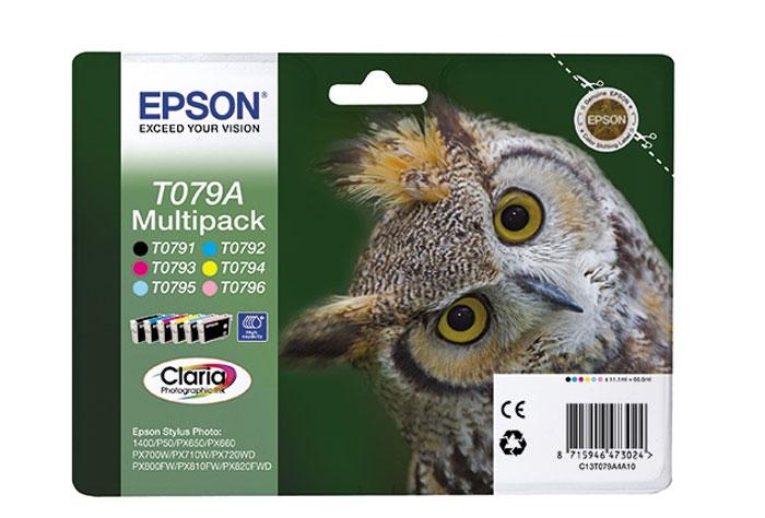 Epson T079A Multipack (C13T079A4A10) комплект картриджей для Stylus Photo P50/PX660C13T079A4A10Экономичный набор из шести картриджей повышенной емкости Epson T079A. Компания Epson производит картриджи для струйной печати с ресурсом, соответствующим стандартам ISO/IEC FCD 24711 и 24712. Во всем мире новая методика ISO признана наиболее достоверной методикой тестирования струйных принтеров в стандартных условиях с целью сравнения ресурса различных принтеров.