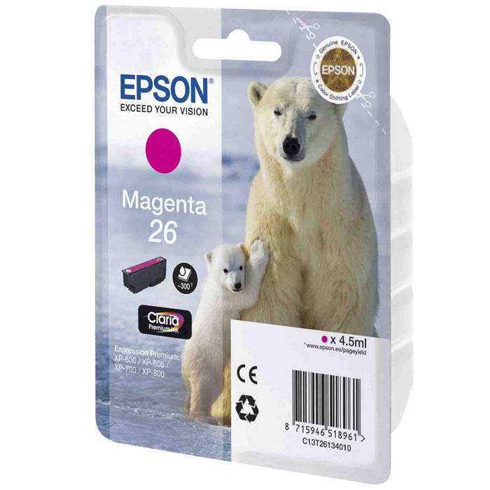 Epson 26 (C13T26134010), Magenta картридж для XP-600/XP-700/XP-800C13T26134010Картридж стандартной емкости Epson 26 с пигментными черными или водорастворимыми цветными чернилами для струйных МФУ Epson.