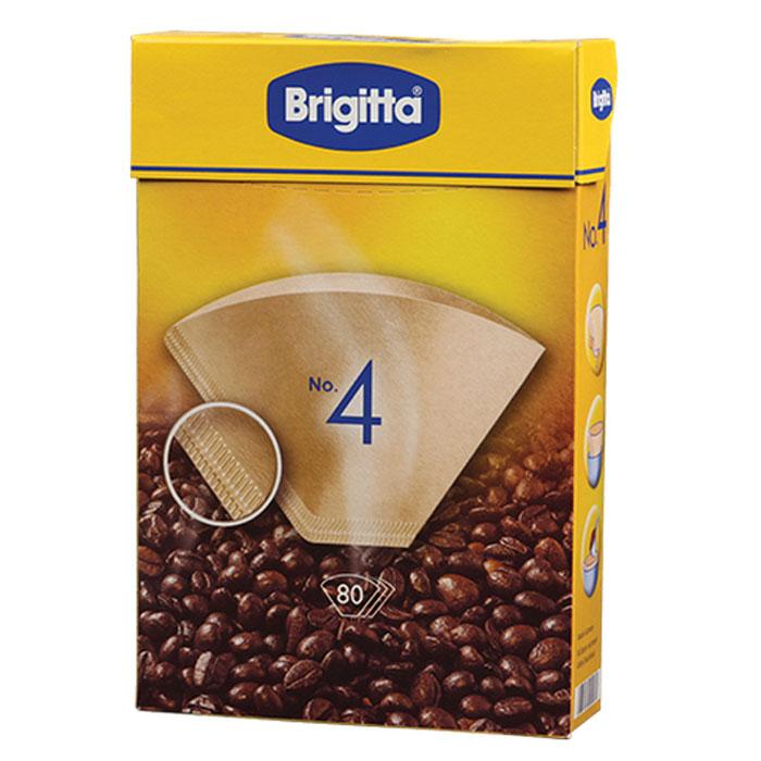 Melitta Brigitta No.4 фильтры бумажные, 80 шт.0200144Кофе-фильтры Melitta Brigitta No.4 сделаны из высококачественной бумаги, не придающей посторонний вкус кофе. Двойной шов обеспечивает оптимальную прочность фильтра. Постоянный контроль качества производства гарантирует получение насыщенного аромата свежесваренного кофе.