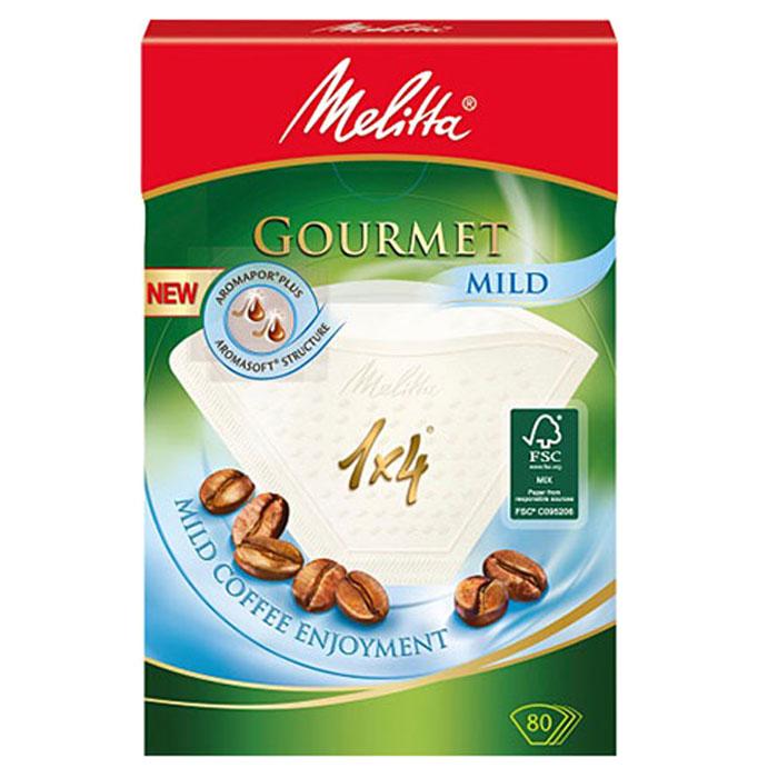 Melitta Gourmet Mild фильтры для заваривания кофе, 1х4/80 шт.0100971Бумажные кофейные фильтры Melitta Gourmet Mild. Позвольте околдовать себя: насладитесь мягким вкусом кофе и его полным разнообразием ароматов благодаря улучшенным кофейным фильтрам Gourmet Mild. Крупнопористая структура бумаги Aromasoft обеспечивает быстрое взаимодействие воды с молотым кофе, что гарантирует мягкий и приятный вкус. Кроме того, инновационные аромапоры Aromapor PLUS способствуют оптимальной экстракции кофейных масел, которые являются носителями более чем 800 ароматов кофе и позволяют наслаждаться мягким соблазняющим кофе. Размер: 1x4 Надежный двойной шов повышенной прочности Высокий уровень прочности на разрыв и эффективности фильтрации