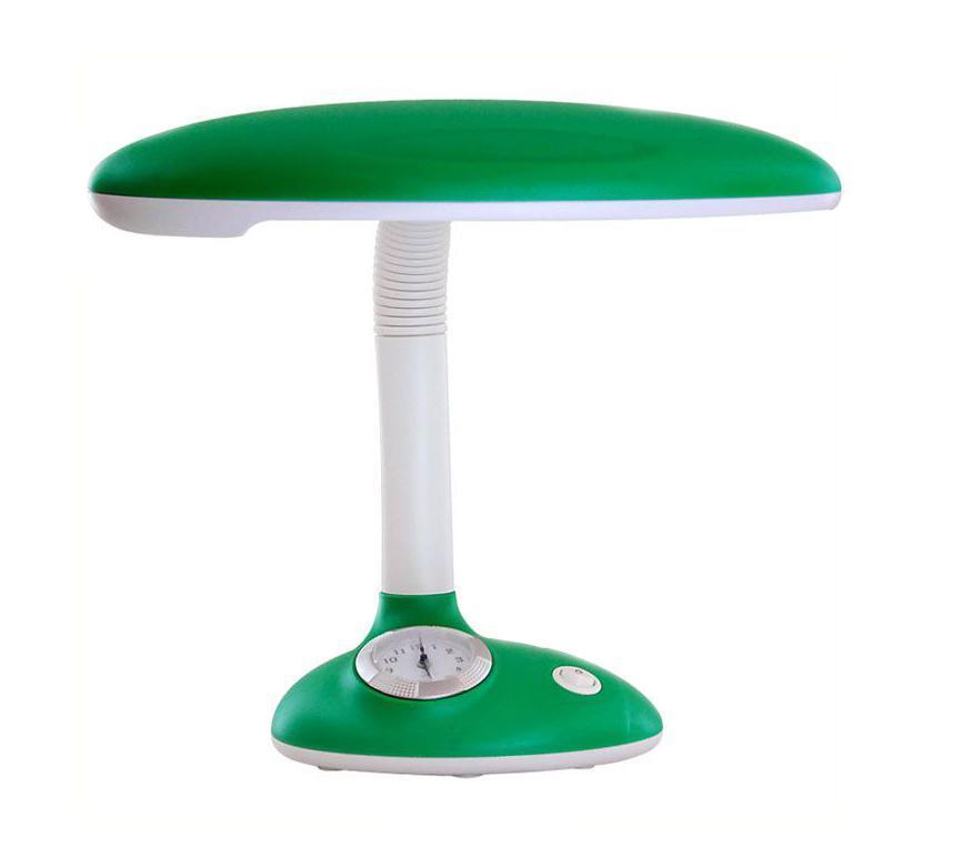 Светильник настольный Ультра ЛАЙТ, с часами, цвет: зеленый. KT432304Светильник Ультра ЛАЙТ изготовлен из высококачественных материалов и отлично подойдет в детскую комнату. Необычный дизайн, яркая расцветка настольной лампы станут отличным дополнением помещения. На подставке светильника расположены часы, что придает ему большую уникальность и креативность.
