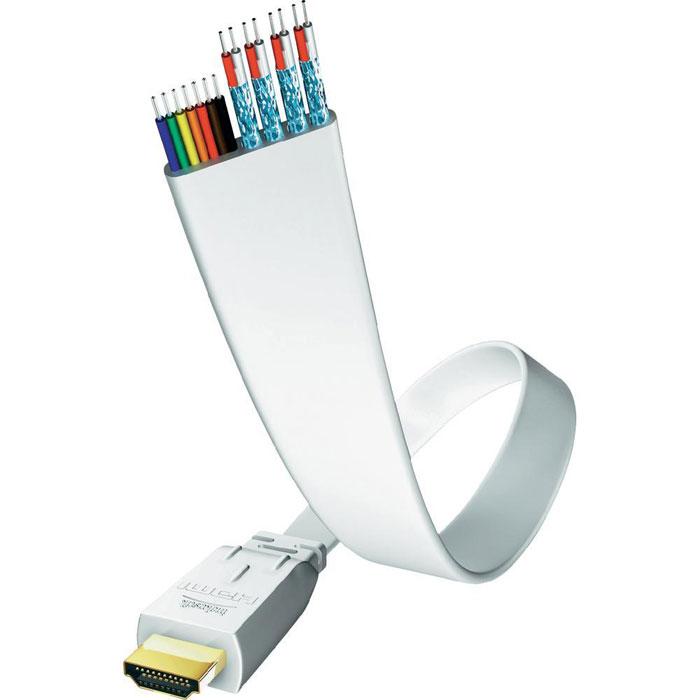 Inakustik Premium Flat кабель HDMI, 3 м (0042343)4001985508082Inakustik Premium Flat - это высокоскоростной HDMI кабель c Ethernet-каналом, который позволяет подключать аудио/видео ресиверы, DVD/Blu-ray проигрыватели, игровые консоли к телевизорам или проекторам. Благодаря плоскому дизайну кабель имеет компактные размеры и удобен для подключения, так как его можно прокладывать под коврами, напольными покрытиями, обоями. Технология Audio Return Channel (реверсивный звуковой канал) позволяет телевизору через единственный HDMI кабель передавать аудио данные на аудио/видео ресивер, предоставляя пользователю дополнительную гибкость и избавляя его от необходимости использовать дополнительные аудиоподключения. Жилы кабеля имеют экранирование из фольги, а позолоченные разъемы обеспечивают передачу данных без помех. Кабель доступен с различными вариантами длины: от 0.75 до 7.5 метров.Экранирование из фольгиСкорость передачи данных: 10.2 Гбит/сСеть Ethernet: до 100 Мбит/сВерсия HDMI: High Speed HDMI Cable with Ethernet (совместимость с HDMI 2.0)Разъемы: цельнометаллические 19 pin, тип А, позолоченныеПроводник: высокоочищенная бескислородная медьСовместимость: CEC/HDCP/EDIDТолщина: около 1.9 ммПоддержка HD аудиосигнала: DTS HD, Dolby True HD, Dolby Digital Plus, PCM, DVD Audio, SACD, восьмиканальный аудиосигнал (24 бит /192 кГц)