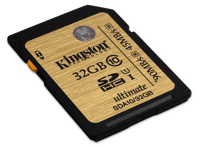 Kingston SDHC Class 10 UHS-I Ultimate 32GB (SDA10/32GB) карта памятиSDA10/32GBKingston SDHC Class 10 UHS-I Ultimate - универсальный носитель информации, который может применяться со всеми совместимыми устройствами, поддерживающими данный формат карт памяти. Способен хранить любые типы данных. Увеличенные минимальные скорости записи поддерживают режим длительной съемки серии фотографий, позволяя снизить задержки.