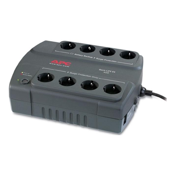 APC BE400-RS Back-UPS ES 400VA 230V RussianBE400-RSAPC BE400-RS обеспечивает защиту линии передачи данных. В комплект поставки входит диск с ПО, при помощи которого можно адаптировать ИБП индивидуально под вашу сеть. 4 розетки можно использовать как сетевой фильтр и 4 розетки обеспечивают батарейную поддержку. Номинальное выходное напряжение Эффективная мощность 240 Ватт Холодный старт Время работы от батарей при нагрузке 100 Вт: 23 мин Время работы от батарей при нагрузке 200 Вт: 8 мин Максимальная энергия входного импульсного воздействия 310 Дж Время зарядки 16 часов Уровень шума 45 дБА на расстоянии 1 метра от поверхности устройства
