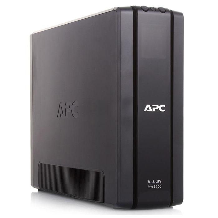 APC BR1200G-RS Back-UPS Pro 1200VA ИБПBR1200G-RSAPC BR1200G-RS - линейно-интерактивный источник бесперебойного питания, обеспечивает стабилизацию напряжения на выходе, при этом частоты на входе и выходе совпадают. Имеет основную розетку с резервным питанием и 3 зависимые от основной розетки, одна с резервным питанием и 2 без резервного питания. Основная розетка определяет, когда подключенный к ней компьютер выключается или переводится в режим ожидания или «спящий» режим и отключает питание неиспользуемых периферийных устройств, подключенных к зависимым розеткам, тем самым сберегая электроэнергию и деньги пользователей. Подходит для небольших офисов.