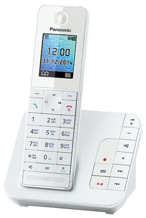 Panasonic KX-TGH220 RUW, White DECT-телефонKX-TGH220RUWБеспроводной DECT-телефон Panasonic KX-TGH220 RU с автоответчиком. Обладает компактным дизайном корпуса и приятной подсветкой. В число полезных функций входит: автоматический определитель номера, широкий телефонный справочник на 200 записей, опция снижения уровня фонового шума и функция резервного питания. Данный телефон совместим с брелоком-искателем KX-TGA20RU, которой помогает найти любой предмет с помощью трубки.Брелок-искатель приобретается отдельноНочной режимЭко-режим