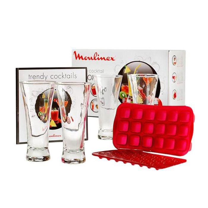 Moulinex XF800032 Moulinex Trendy Cocktail Box набор аксессуаров для соковыжималокXF800032Moulinex XF800032 Moulinex Trendy Cocktail Box - уникальный набор для обладателей соковыжималок, в который входит: красочная книга с рецептами фруктовых миксов и смузи, 4 красивых стакана, 2 силиконовые формы для замораживания ледяной крошки и льда кубиками.