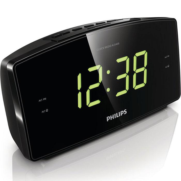 Philips AJ3400/12 радиоприемникAJ3400/12Радио-будильник Philips AJ3400/12 с чистейшим звучанием и цифровой настройкой FM принесут в ваш дом лучшие мелодии и радиостанции. Время отображается на большом дисплее, а встроенный дополнительный источник питания не даст вам проспать даже после отключения электричества. Аудиосистема оснащена цифровым FM-тюнером, что открывает дополнительные возможности для прослушивания музыки. Просто настройте любимую станцию, а затем нажмите и удерживайте кнопку предустановки для запоминания частоты. Благодаря функции сохранения предустановленных радиостанций можно быстро получить доступ к любимой радиостанции, не настраивая ее вручную каждый раз. Большой дисплей позволяет с удобством просматривать информацию. Теперь можно без труда увидеть время или настройки будильника даже на расстоянии. Идеально подходит для людей в преклонном возрасте и людей со слабым зрением. Радио-часы оснащены функцией повтора сигнала, которая не позволит проспать. Если при срабатывании сигнала будильника вы не...