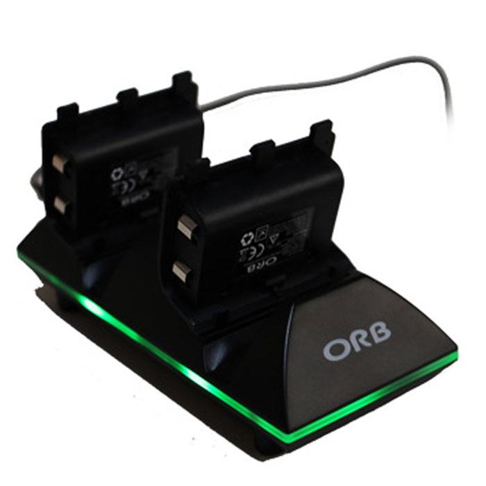 Зарядная станция ORB на 2 геймпада c 2 аккумуляторами для Xbox One (020908)020908Комплект для зарядки ORB Charge&Play для XOne состоит из зарядной станции, 2 аккумуляторов и зарядного кабеля. Время зарядки составляет 3 часа, а время игры - до 10 часов. Емкость аккумулятора: 600 мАч Тип аккумулятора: NiMH Светодиодный индикатор зарядки Автовыключение при полной зарядке аккумуляторов