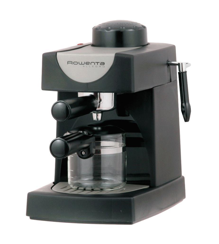 Rowenta ES0600 Allegro кофеваркаES0600 AllegroRowenta ES0600 Allegro - компактная кофеварка эспрессо на 4 чашечки кофе. Имеет мощность 750 Ватт и давление 4 бара. Стеклянный кувшин рассчитан на 4 чашки кофе. Кофеварка оснащена фильтродержателем с механизмом высыпки отходов, а также съемным лотком для сбора капель.